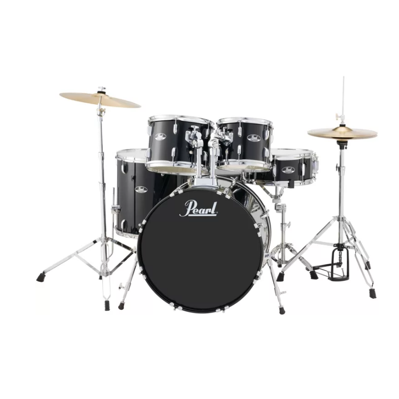 fed5f78690c Pearl Roadshow 5-piece Complete Drum Set with Cymbals – 22″ Kick – Jet Black