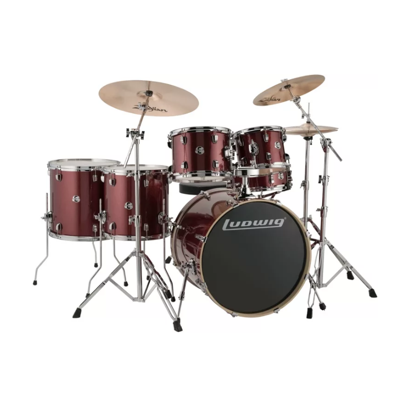 19c47263e92 Ludwig Element Evolution 6-pc Drumset with Zildjian ZBT Cymbals – 22″ –  Wine Red Sparkle
